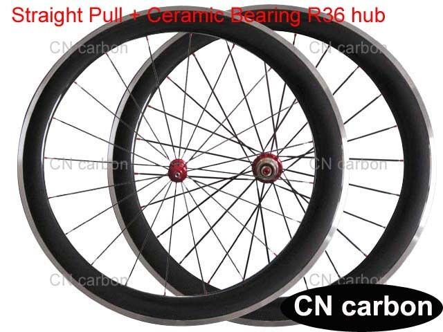 Ceramic bearing R36 hub 50mm Clincher carbon bike wheelset alloy brake surface