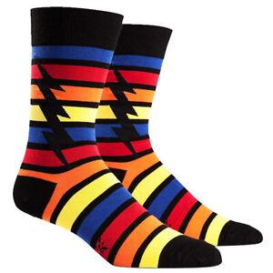 Sock-It-To-Me-Red-Blue-Striped-Lightning-Bolt-Superhero-Mens-Black-Crew-Socks