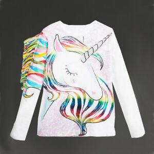 Details about UK Stock Casual Toddler Kids Girls Summer Long Sleeve Unicorn  Tops T-shirt
