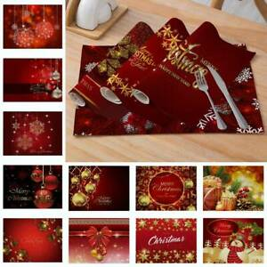 Mantel-Navidad-Santa-Muneco-de-nieve-2PCS-Mesa-De-Comedor-Manteles-Individuales-Navidad-Decoracion