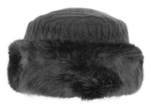 1ede00f59 Details about Pia Rossini Misha Fur Trim Cossack/Russian Hat Black or Grey