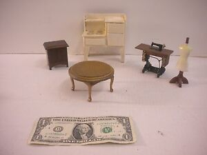 Dollhouse Furniture Miniatures Sewing Machine, Dress Form, Stove & Tables