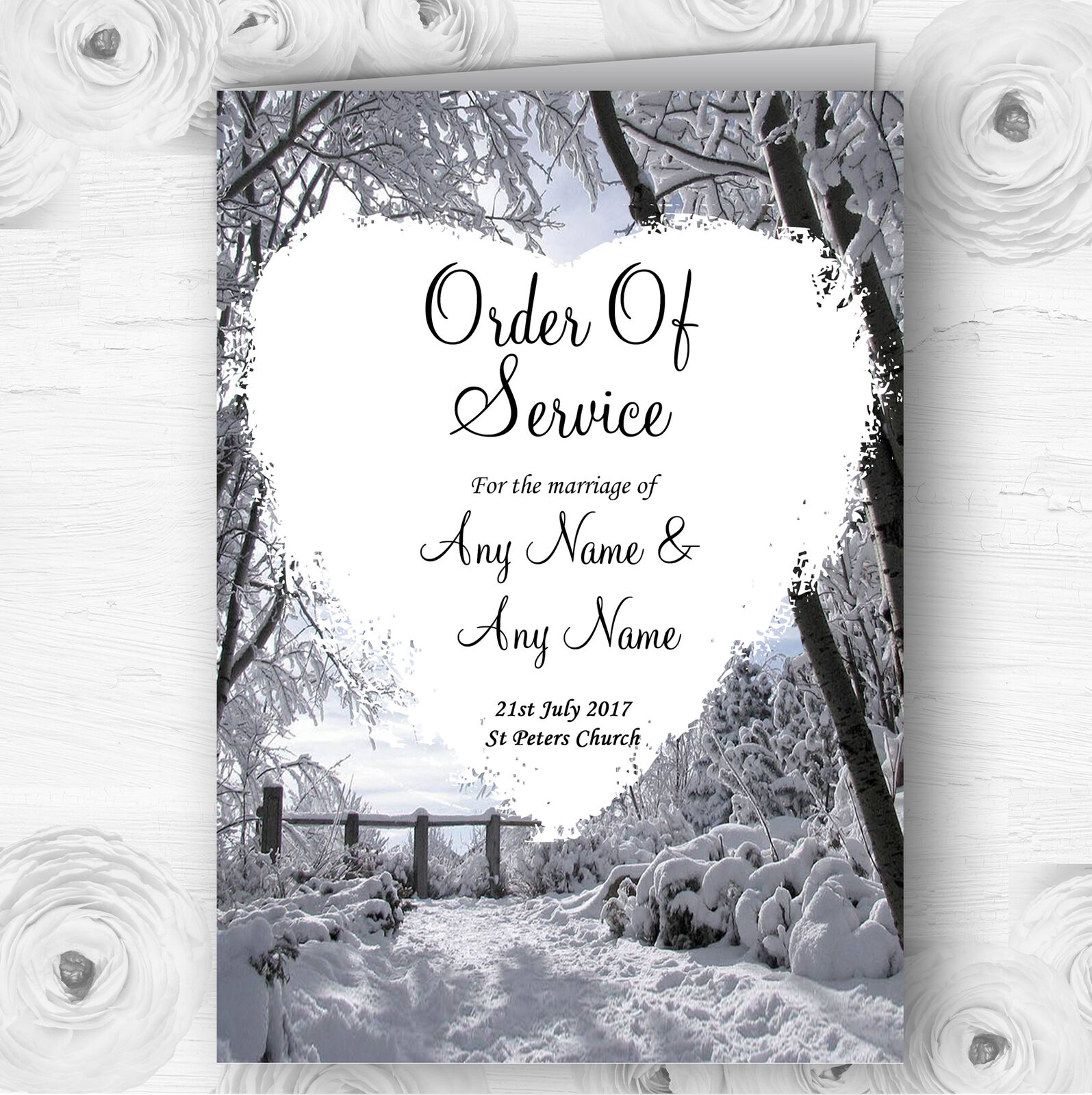 Winter Snow Scene Personalised Wedding Double Sided Cover Order Of Service