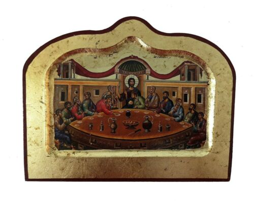 GRECO BIZANTINA ORTODOSSA litografia icona IKONE ULTIMA CENA 14x18cm