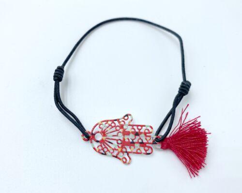 Pulsera mano de fatima negra elastica nueva hamsa nazar proetccion amuleto moda
