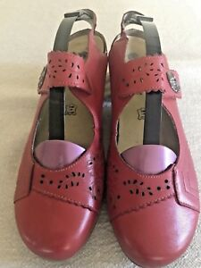 a6b9f954bdb Details about Remonte Dorndorf Womens EU 40 Red Leather Mary Jane stacked  Heel Shoes