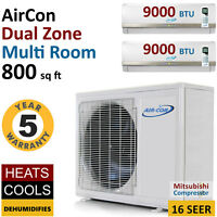 18000 Btu Dual Zone Ductless Air Conditioner Mini Split Ac Multi Heat Pump