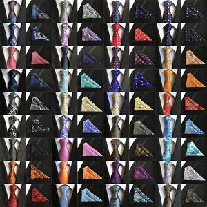 48-Colors-Mens-ties-Silk-amp-Pocket-Square-Handkerchief-Suit-SET-Paisley-Wedding