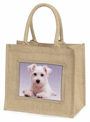 West Highland Terrier Hund große natürliche jute-einkaufstasche weihnachten-gi,