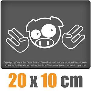 JDM-cerdo-Shocker-20-x-10-cm-JDM-decal-sticker-coche-car-blanco-discos-pegatinas