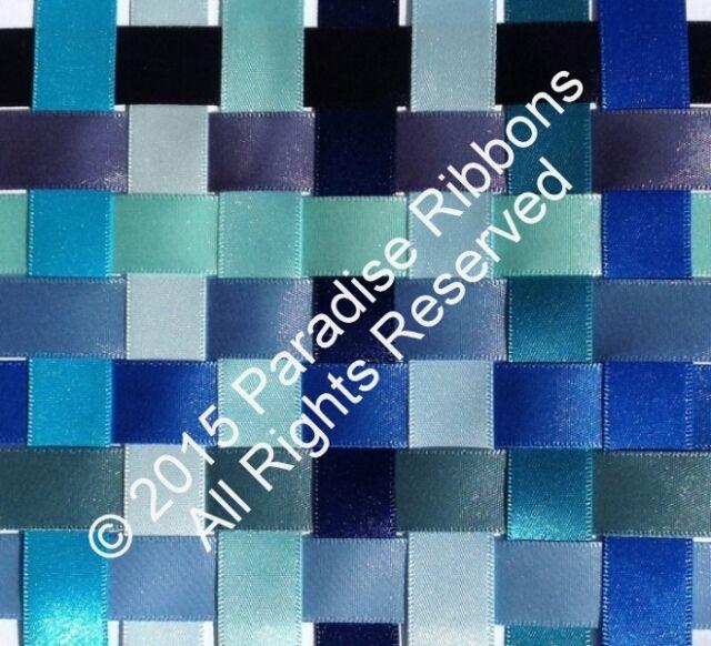 2 METRES Berisfords Double Satin Ribbon 14 BLUE SHADES - Choose Width + Shade