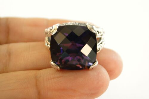 8 7 9 Ornate Purple Amethyst Solitaire 925 Sterling Silver Ring Size 6.5