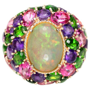 REAL-RAINBOW-OPAL-TOPAZ-CHROME-DIOPSIDE-AMETHYST-STERLING-925-SILVER-RING-8