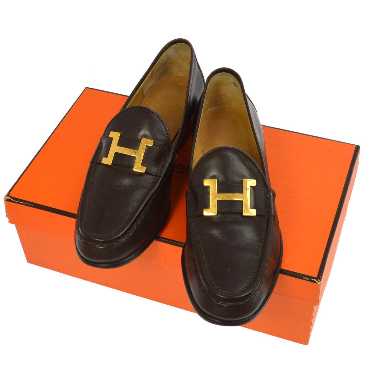 auth hermès les logos des italie chaussures en cuir italie des vintage  jt03255 mocassins d  0e4b71a20aed