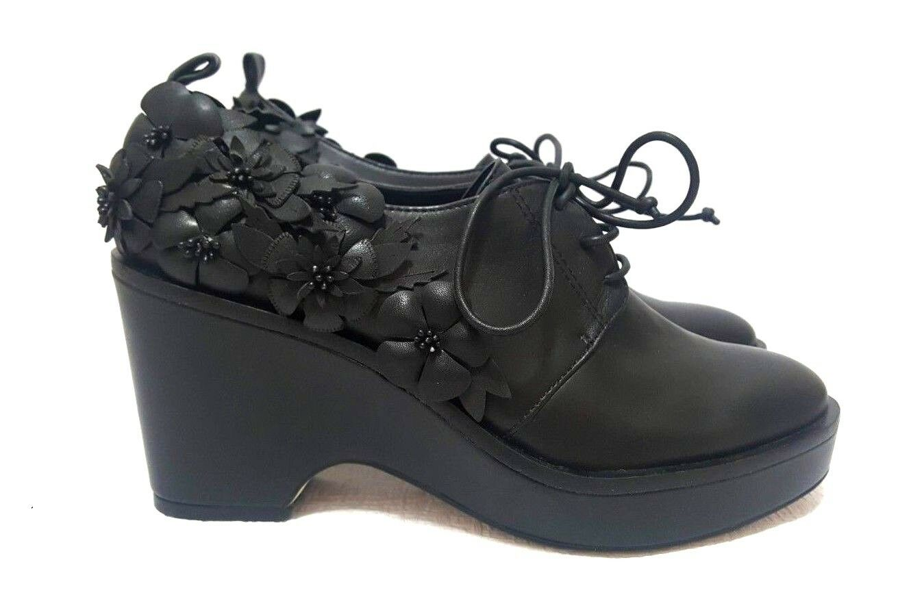 NEW RARE UNIQUE KARL LAGERFELD Black Leather Fashion Comfort shoes SAMPLE Size 6