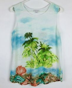 feb69bf0d8 J Jill Womens Small Love Linen Tropical Print Tank Top Beach Palm ...