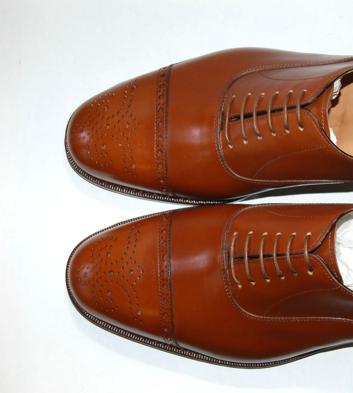 MAN - 5 eu - OXFORD CAPTOE - TAN FRENCH FRENCH FRENCH CALF - PERFS&MEDALLION - DOUBLE LTH SOLE 39111d