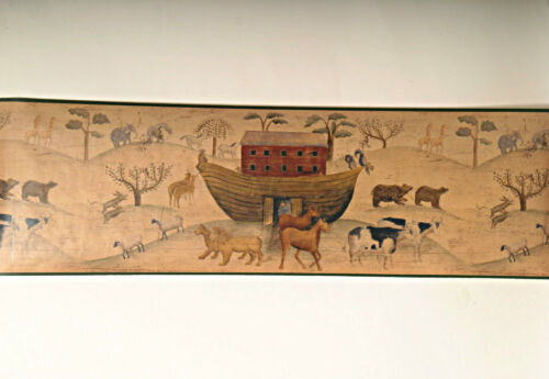 Primitive pays rustique Noahs Ark bateau animaux Bible religieux Wallpaper Border