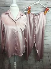Jones New York Silky/Satin 2pc. After Hours Lounging Pajama Set Size Medium Pink