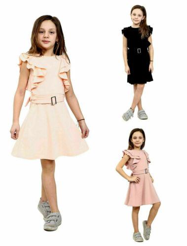 Kids Girls Children Ruffle Belted Skater Mini Dress Age 7-13 Years