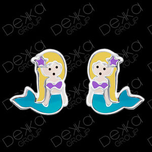 Genuine-925-Sterling-Silver-Mermaid-Stud-Earrings-Mini-Studs-Girls-Children