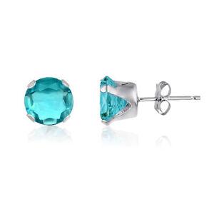 Sterling-Silver-Stud-Earrings-Round-Lt-Blue-Aquamarine-CZ-March-Birthstone