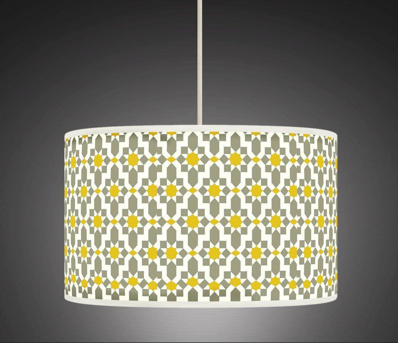 Jaune Moutarde Gris Retro Tissu Geometrique Handmade Imprime Tissu