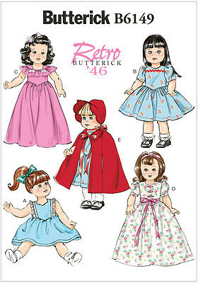 Butterick 6149 Sewing Pattern to MAKE Retro /'46 Doll Clothes for 18 inch Dolls