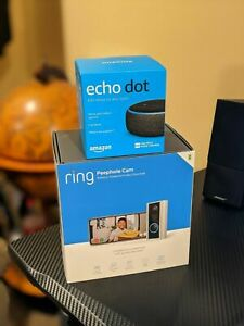 BRAND-NEW-SEALED-Ring-Peephole-Cam-with-Echo-Dot-3rd-Gen-Charcoal