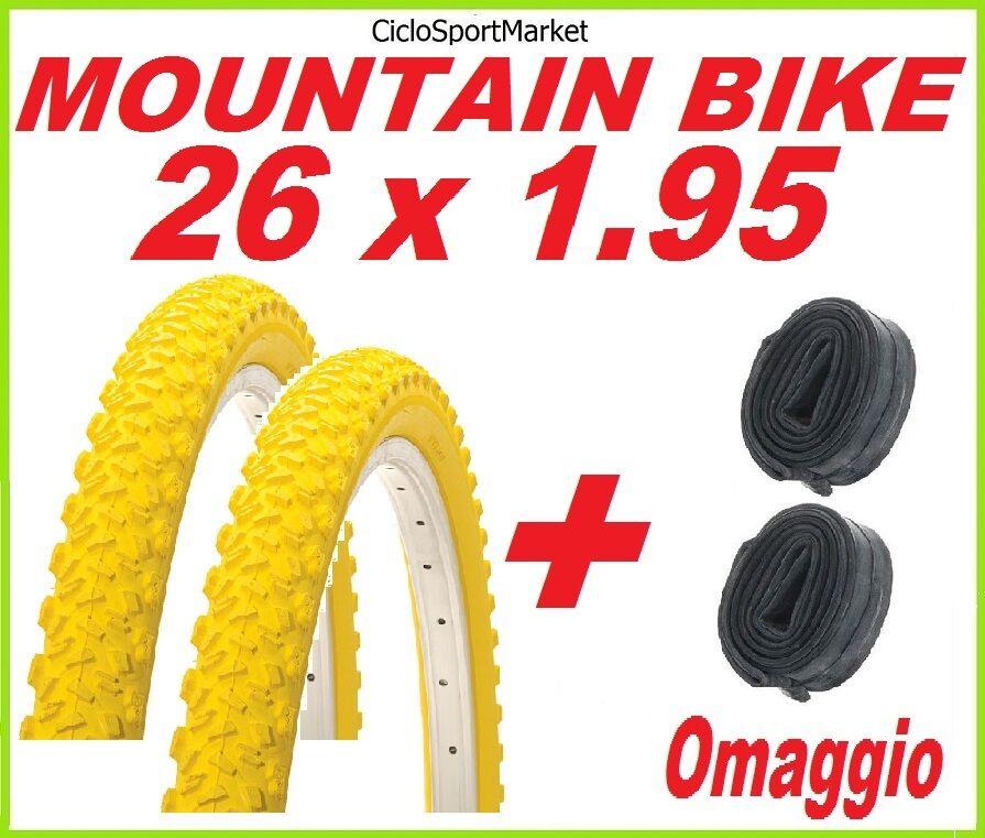 2 x Tyre 26 x 1.95 YELLOW bike MOUNTAIN bike + 2 x INNER TUBE FREE GIFT