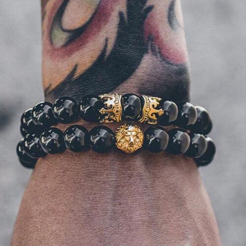 Men Lion Head Crown Bracelets 8mm Beads Cuff Charm Bangle Bracelet Jewelry I