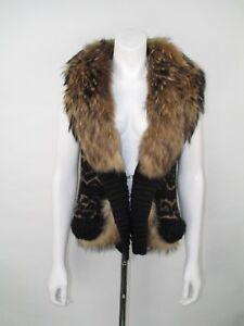 detailed look c14e1 8c7a2 Roberto Cavalli Size 42 UK 10 Fur Trim Woven Animal Print ...
