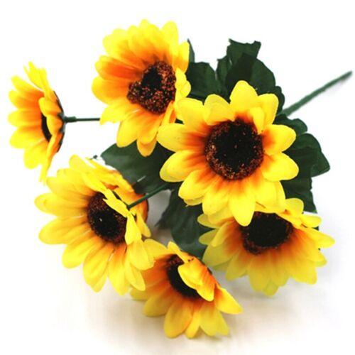 7 Heads Artificial Sunflowers Fake Flower Floral Bouquet Home Garden Shop Nice