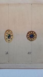 DESPRES Dessin original GOUACHE 3 boucles d'oreilles ou pendentifs ART DECO 1930 CGe01WWV-08020919-972553726