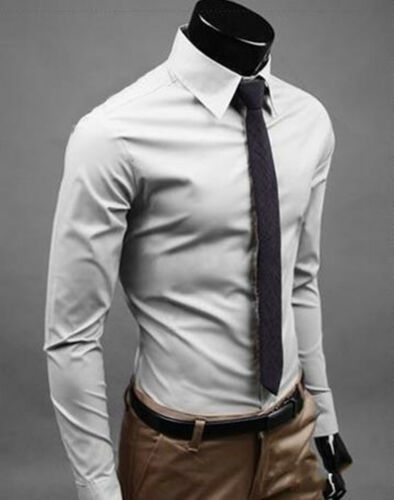 Mens Fashion Casual Solid Slim Fit Long Sleeve Dress Formal Shirt Tops 4 Size