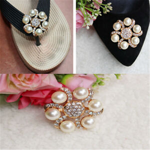 1PC-Women-Shoe-Decoration-Clips-Crystal-Pearl-Shoes-Buckle-Wedding-Deco-AU