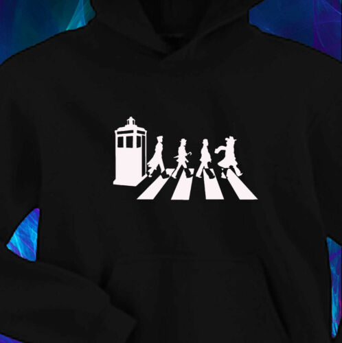 ABBEY ROAD SPOOF BLACK HOODIE S-2XL DOCTOR WHO ALL THE DOCTORS