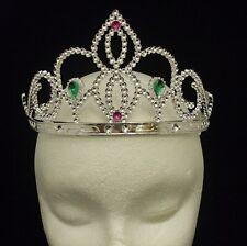 Kinder Mädchen Tiara Silber Bunt Krone Prinzessin Verkleidung Neu
