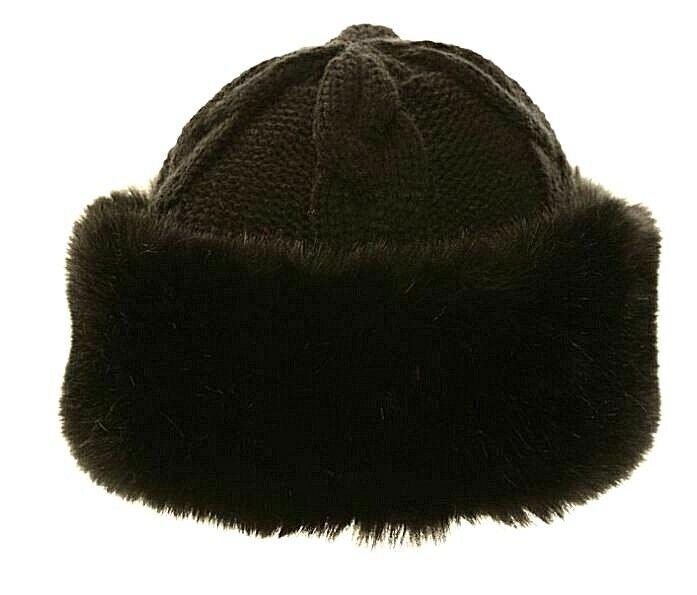 Adorno de piel de invierno para mujer señoras de punto Fleece Beanie Sombrero De Esquí Sombreros