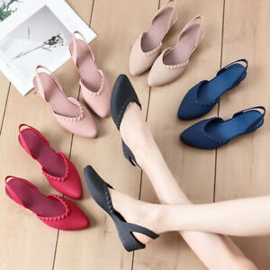 Women-039-s-Pointed-Shallow-Mouth-Jelly-Shoes-Princess-Shoes-Sandals-Work-Flats-New
