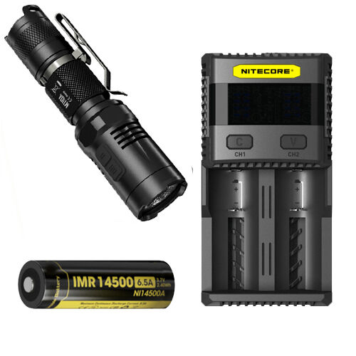 Nitecore MT10A Tactical Flashlight -XM-L2 U2 w NL14500A Battery && SC2 Charger