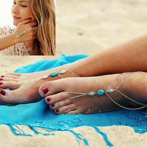 Women-Jewelry-Double-Chain-Finger-Ring-Hand-Harness-Bracelet-Bangle-Anklets-New