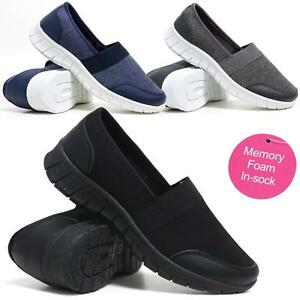 Ladies-Get-Fit-Go-Walking-Slip-On-Gym-Fitness-Memory-Foam-Trainers-Shoes-Size