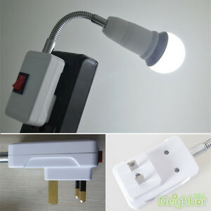 New US UK Plug Gooseneck Wall Light E27 Lamp Holder Adapter Socket For LED Bu