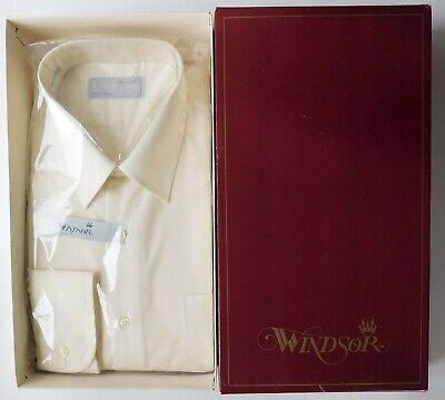 100% Vero Windsor Crema Shirt Vintage 1970s Principe Colletto Taglia 16.5 Inutilizzati Con Tasca-mostra Il Titolo Originale