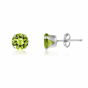 Genuine-Olive-Green-Peridot-Gemstone-925-Sterling-Silver-Round-Stud-Earrings