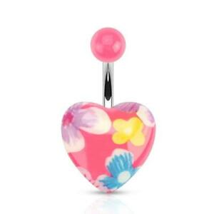Belly-Button-Piercing-034-Pink-Flora-Heart-034-Flower-Power