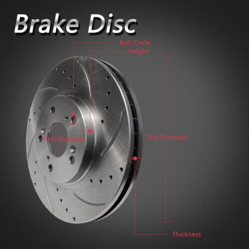 2pcs Front Left+Right Drilled Slotted Vented Disc Brake Rotors Fit Lexus//Toyota