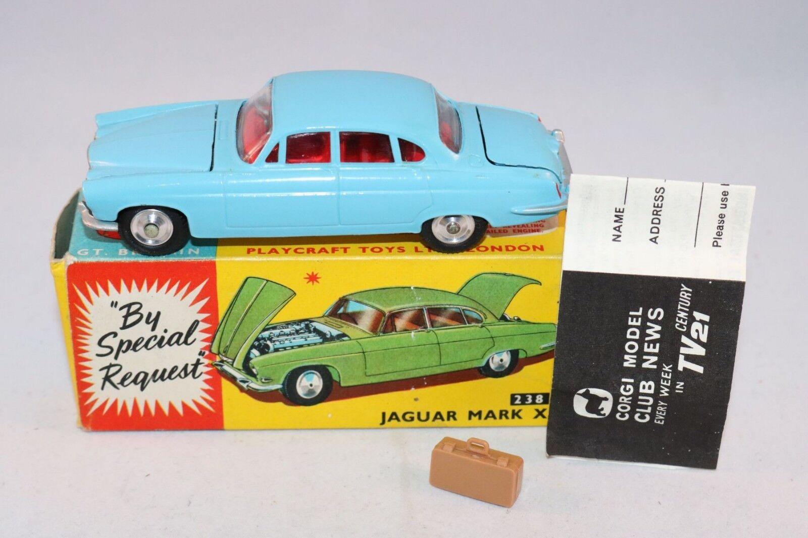 Corgi Toys 238 Jaguar Mark X blueee with spun hubs perfect mint in box & leaflat