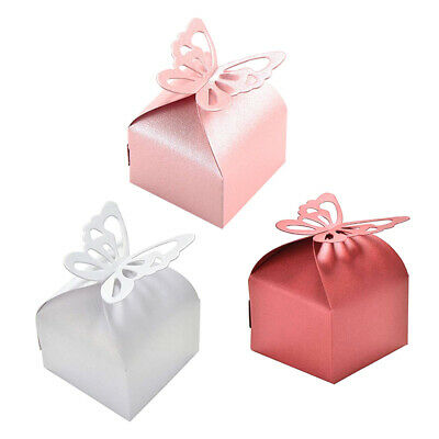 50 Candy Boxes with Pink Ribbons Paper Sweets for Wedding Anniversary Hen Party